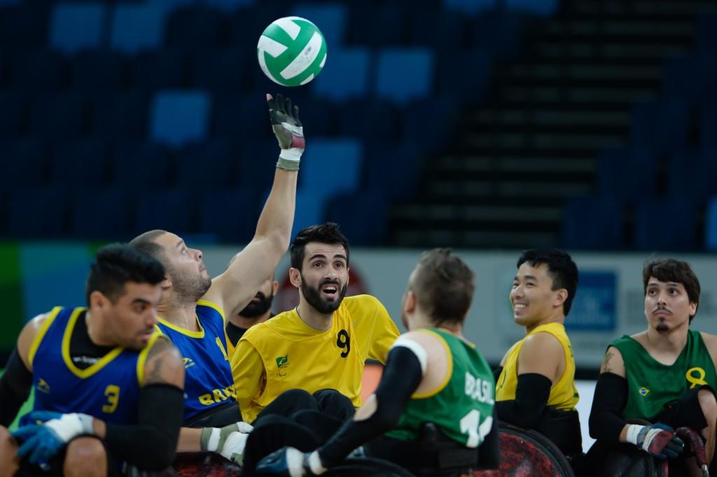 25/02/2016. Evento-Teste: Rugby.Cadeira de Rodas. Arena Carioca 01. Olimpic Park. Barra da Tijuca. Rio de Janeiro. BRASIL.