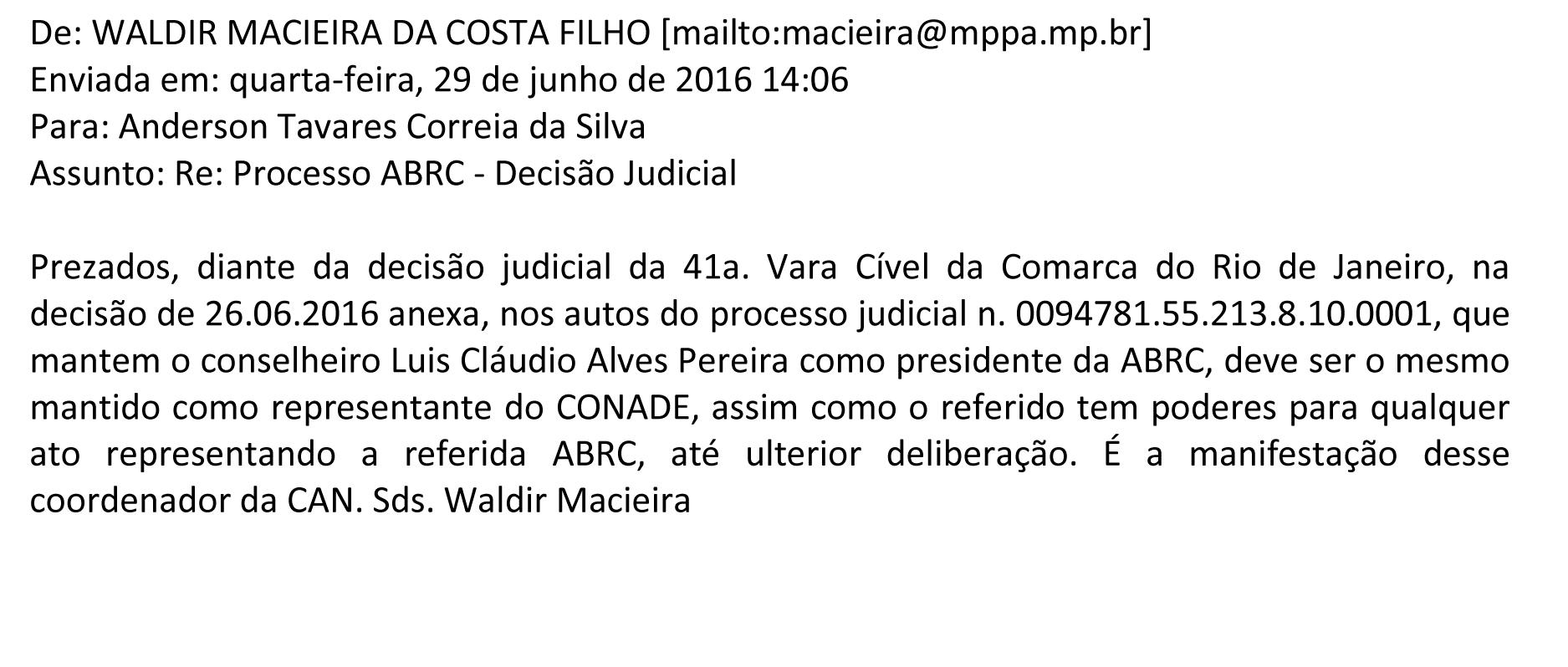 2016 06 29 Email Waldir Macieira