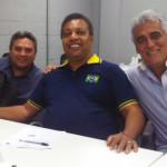 Valdir Moura, presidente da CBBC, Luiz Claudio Pereira, presidente da ABRC, e Alberto Martins da Costa, Diretor Técnico do CPB